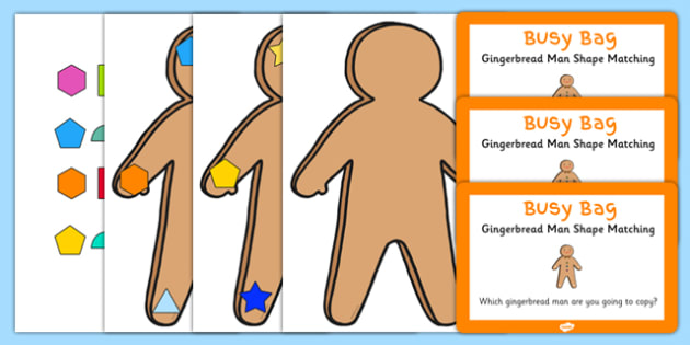 Gingerbread Man Shape Matching Busy Bag Prompt Card and Resource Pack - shapes, maths, EYFS, gingerbread man, matching, busy bag, prompt card