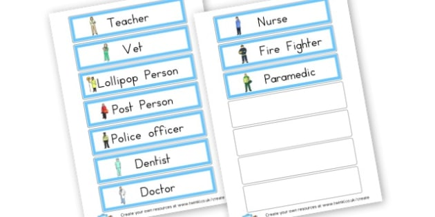 People who help us jobs Flashcard - People Who Help Us Primary Resources, emergency service, role play