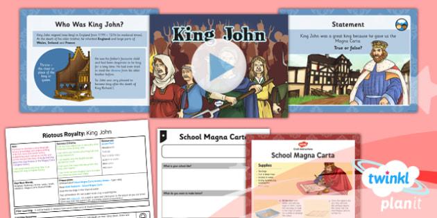 PlanIt - History LKS2 - Riotous Royalty Lesson 2: King John Lesson Pack - Robin Hood, Magna Carta