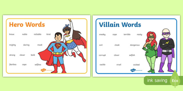 Hero And Villain Describing Word Mats - descriptions, heroes