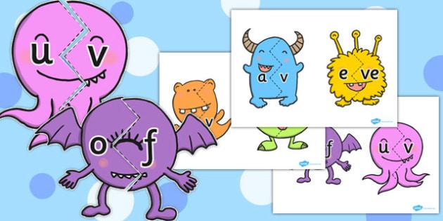 Vowel and Final 'V' Sound Monster Jigsaw - final v, sound, monster