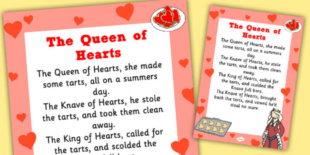 The Queen of Hearts Nursery Rhyme Poster - rhymes, display, songs