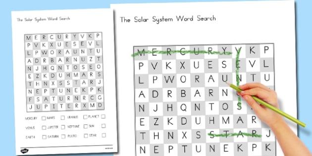 Solar System Wordsearch - australia, solar system, wordsearch