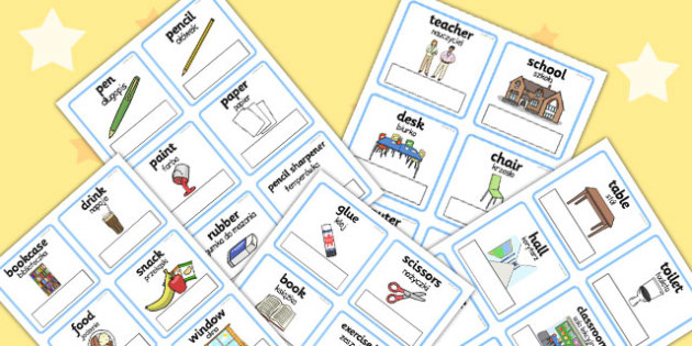 Polish Translation Everyday Objects at School Editable Cards