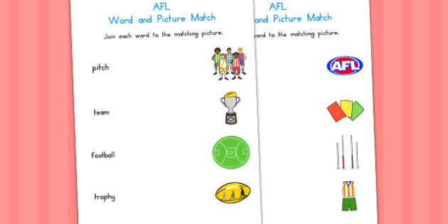 Australian Football League Word and Picture Matching Activity