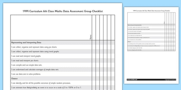 1999 Curriculum 6th Class Maths Data Assessment Group Checklist - roi, gaeilge, ireland, republic of ireland