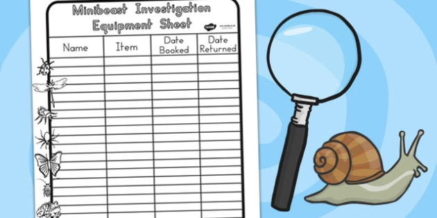 Minibeasts Investigation Equipment Book Sheet - roleplay, props