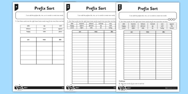 dis-, mis-, un- Differentiated Activity Sheet Pack - prefix, year 3, year 4, y3, y4, spag, spelling, word, appendix 1, national curriculum, grammar, worksheet