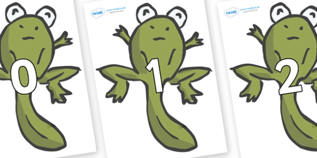 Numbers 0-50 on Froglets - 0-50, foundation stage numeracy, Number recognition, Number flashcards, counting, number frieze, Display numbers, number posters