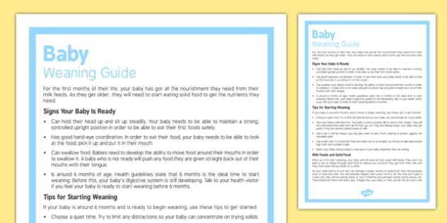 Baby Weaning Guide - Food, solids, weaning, baby, milk, feeds