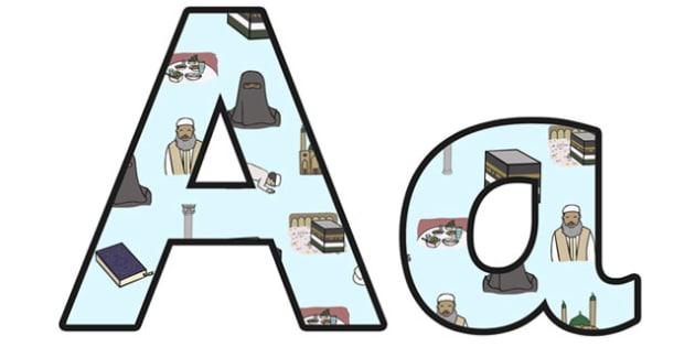 Islam Lowercase Display Lettering - islam, religion, re, islam display lettering, islam lettering, islam letters, islam themed letters, islam a-z letters