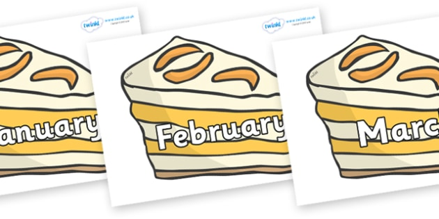 Months of the Year on Peach Desserts to Support Teaching on The Lighthouse Keeper's Lunch - Months of the Year, Months poster, Months display, display, poster, frieze, Months, month, January, February, March, April, May, June, July, August, September