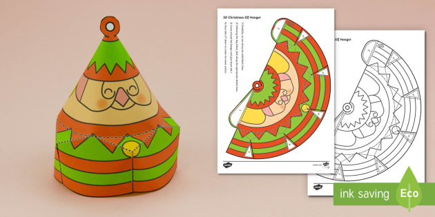 Simple Christmas Hanging Cone Elf Decoration Activity Paper Craft