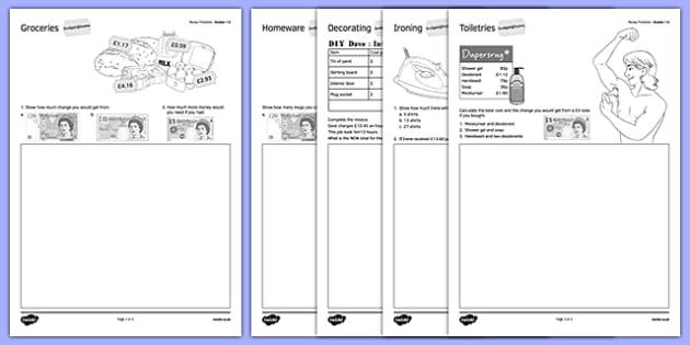 Budget at Home Money Problems Activity Sheet Pack GCSE Grades 1-3 - KS3, KS4, GCSE, Maths, Finance, Budget, Home, worksheet