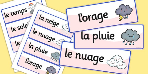 French Weather Vocabulary Cards - france, languages, EAL, vocab