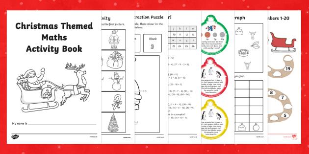 Christmas Themed Maths Activity Book - christmas, maths, activity