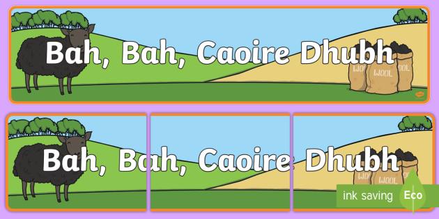 Bah, Bah, Black Sheep Display Banner Gaeilge - Ar an bhFeirm, Bah, Bah, Caoire Dhubh, feirm, farming, Bah bah caoire dhubh, baa baa black sheep,Iri
