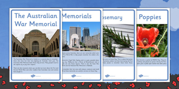 Anzac Day Symbols and Emblems Lower School Information Posters - australia, ANZAC Day, History, ANZAC biscuits, poppies, memorials, Slouch Hat, Gallipoli, First World War, WW1, World War One, display, information, posters