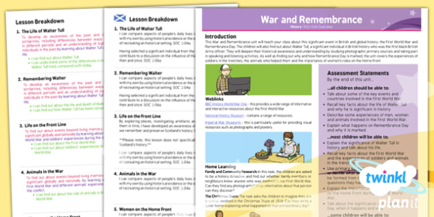 PlanIt History KS1 War and Remembrance Planning Overview CfE -KS1, key stage 1,history, topic, planning, resources, unit, scottish, curriculum for excellence, comparison, WWI, WWII, world war,