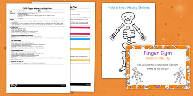EYFS Skeleton Mix Up Finger Gym Plan and Prompt Card Pack - early years, pd, fine motor skills