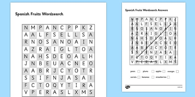Spanish Fruits Wordsearch - worksheets, fruit, Spain, search