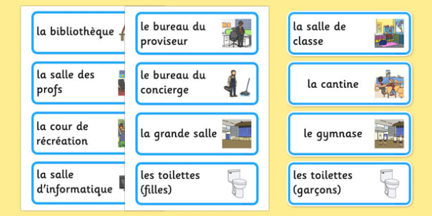 Places Around the School Labels French - french, places around the school, places, school areas, labels, display