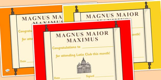 Latin Club Certificates - latin club, certificates, reward, award, reward certificates, certificate template, behaviour management, class management