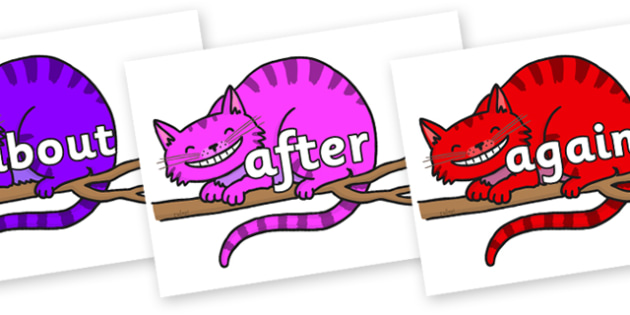 KS1 Keywords on Cheshire Cats - KS1, CLL, Communication language and literacy, Display, Key words, high frequency words, foundation stage literacy, DfES Letters and Sounds, Letters and Sounds, spelling