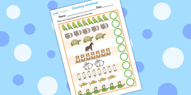 My Counting Worksheet (Pets) - Counting worksheet, Pets, counting, activity, how many, foundation numeracy, counting on, counting back, cat, dog, rabbit, mouse, guinea pig, rat, hamster, gerbil, horse, puppy, kitten, snake, chinchilla, snail, lizard,