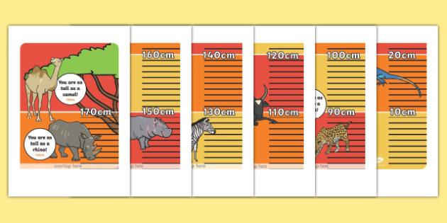 Safari Animal Height Chart Display Poster