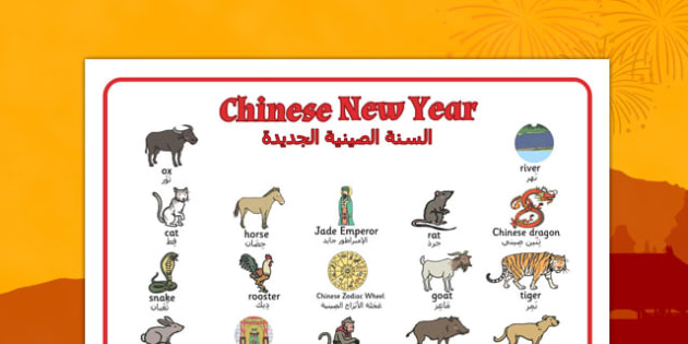 Chinese New Year Story Word Mat Arabic Translation - arabic, chinese new year, story, word mat, word, mat