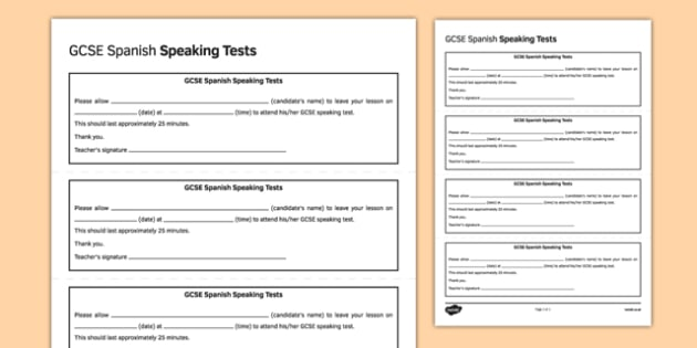 GCSE Spanish Speaking Test Appointment Slip Template - GCSE, Speaking Template, Exam, Test, Admin
