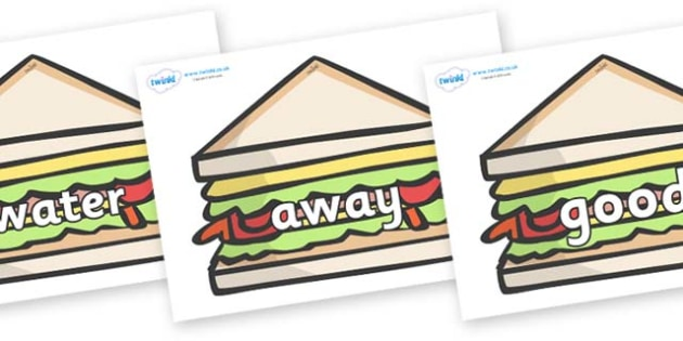 Next 200 Common Words on Sandwiches to Support Teaching on The Lighthouse Keeper's Lunch - Next 200 Common Words on  - DfES Letters and Sounds, Letters and Sounds, Letters and sounds words, Common words, 200 common words