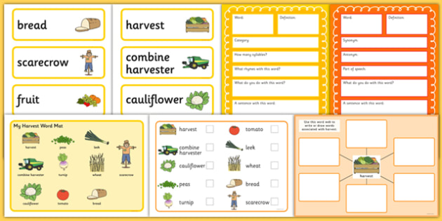 Harvest Pre-Teaching Vocabulary Pack - harvest, pre-teaching, vocabular pack