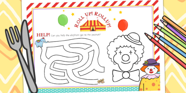 Circus Themed Birthday Party Activity Place Mats - parties, props