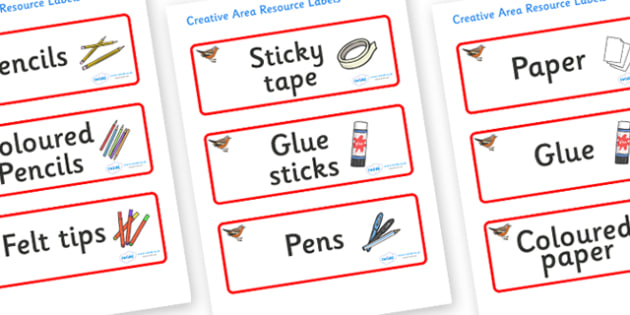 Chaffinch Themed Editable Creative Area Resource Labels - Themed creative resource labels, Label template, Resource Label, Name Labels, Editable Labels, Drawer Labels, KS1 Labels, Foundation Labels, Foundation Stage Labels