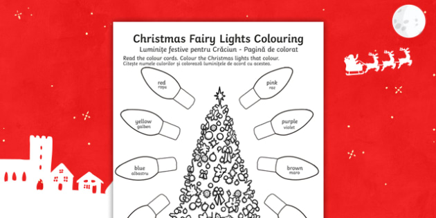 Christmas Fairy Lights Colouring Sheet - christmas, colouring, christmas colourig, colering, chritma