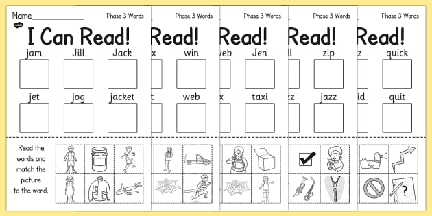 I Can Read Phase 3 Words Activity Sheet - phase 3, read, worksheet