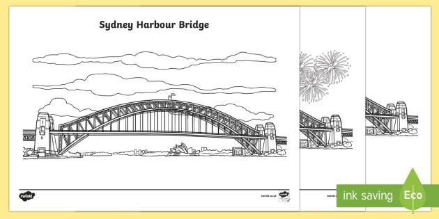 Sydney Harbour Bridge Colouring Pages