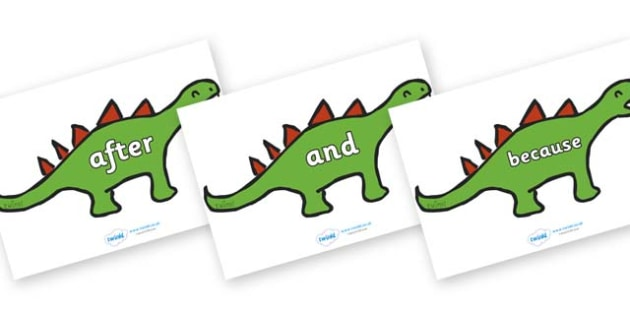 Connectives on Dinosaurs - Connectives, VCOP, connective resources, connectives display words, connective displays
