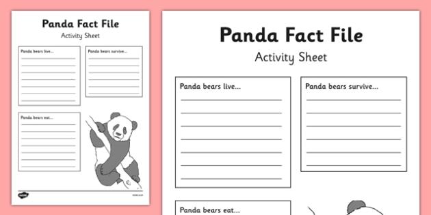 Panda Fact File Activity Sheet - panda, fact file, activity, sheet, factfile, information gathering, worksheet
