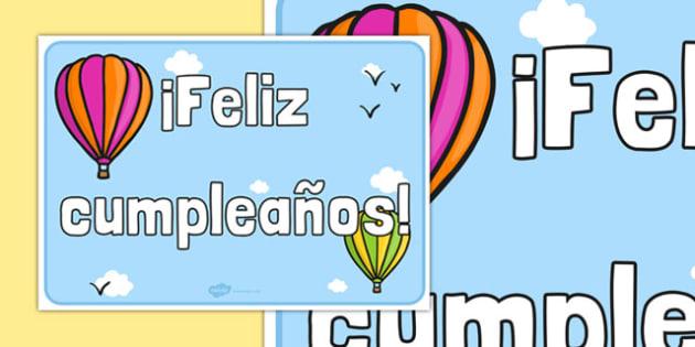 Hot Air Balloon Birthday Sign - spanish, hot air balloon, birthday, sign, display