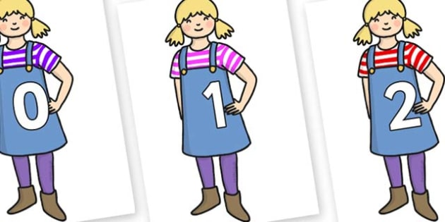 Numbers 0-31 on Little Girl - 0-31, foundation stage numeracy, Number recognition, Number flashcards, counting, number frieze, Display numbers, number posters