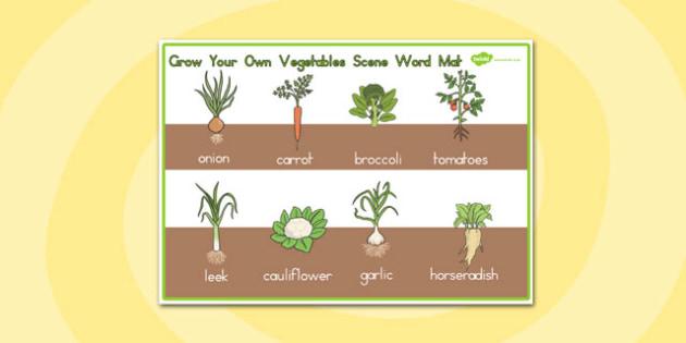 Grow Your Own Vegetables Scene Word Mat - australia, vegetables