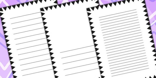 Black Zig Zag Page Borders - writing templates, writing frame