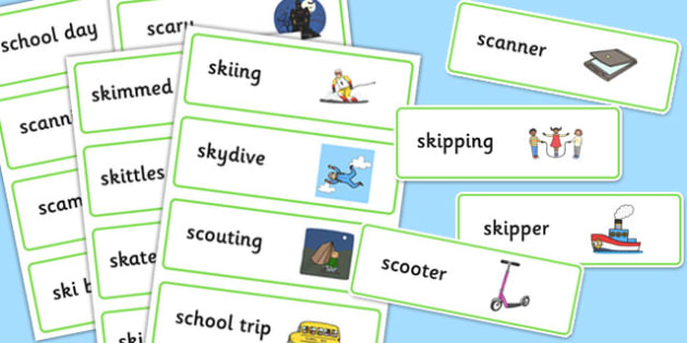Two Syllable 'SC', 'SK' Word Cards - sc, sk, word cards, syllable