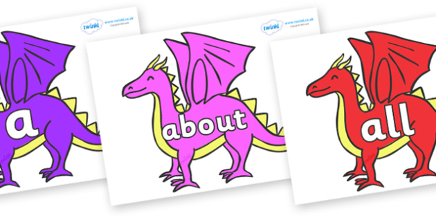 100 High Frequency Words on Dragons - High frequency words, hfw, DfES Letters and Sounds, Letters and Sounds, display words