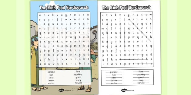 The Rich Fool Wordsearch - parables, rich fool, wordsearch, word