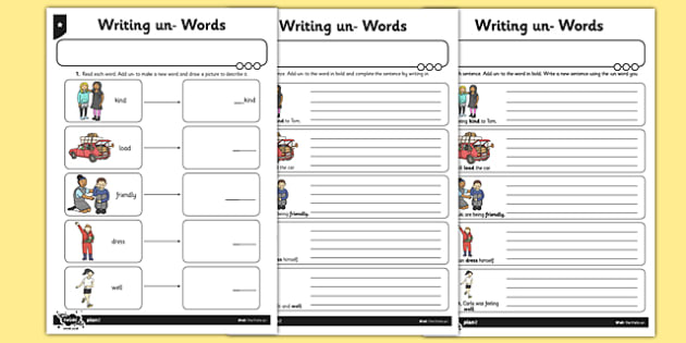 Writing un- Words Differentiated Activity Sheet Pack - GPS, prefix, spelling, root, year 1, key stage 1, ks1, worksheet