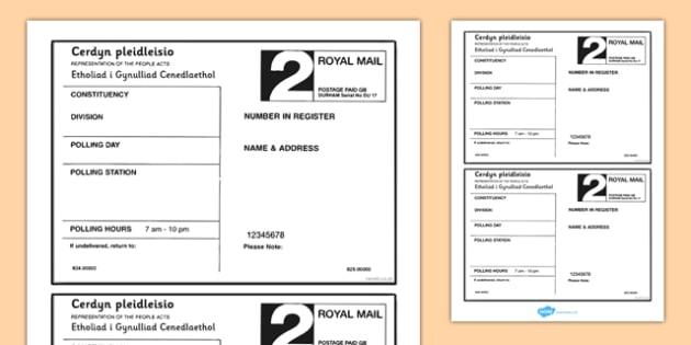 Polling Card Template Welsh Assembly National Election 2016 - welsh, cymraeg, Polling Card Template, Welsh Assembly National Election 2016, Labour, Conservatives, Liberal Democrats, Plaid Cymru